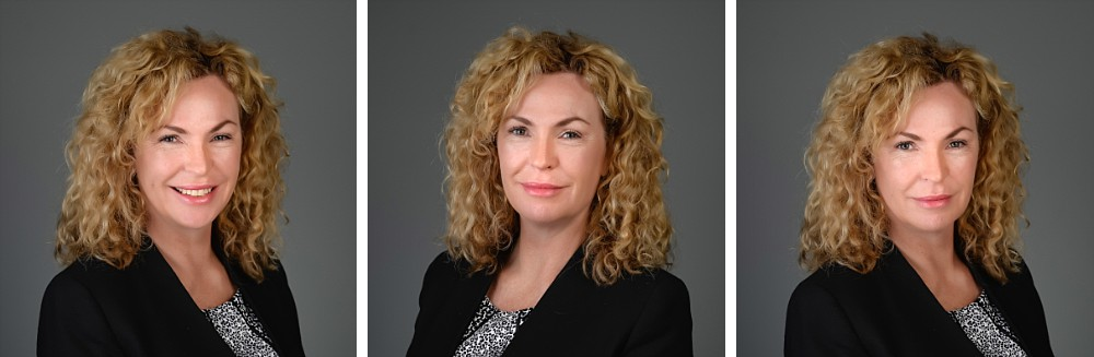 Caucasian woman with curly blonde hair in set of studio professional headshots