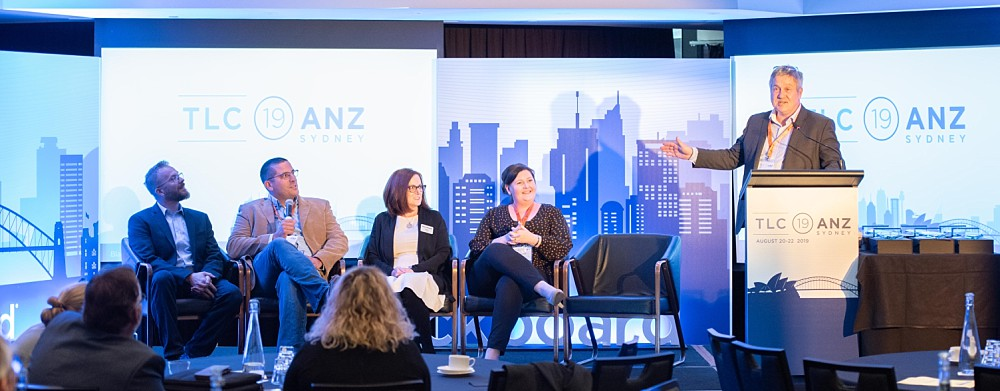 Speaker panel at a business conference in Sydney