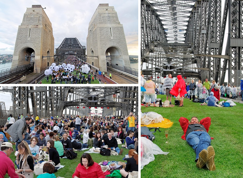 People enjoy a picnic on the Sydney Harbour Bridge at Breakfast on the Bridge 2010