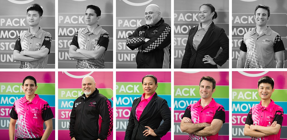Profile photographs of Citymove staff in uniform in Mascot Sydney