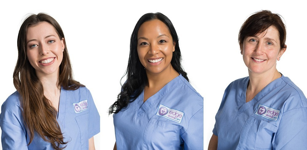 3 women in professional headshots wearing blue scrubs in Sydney studio