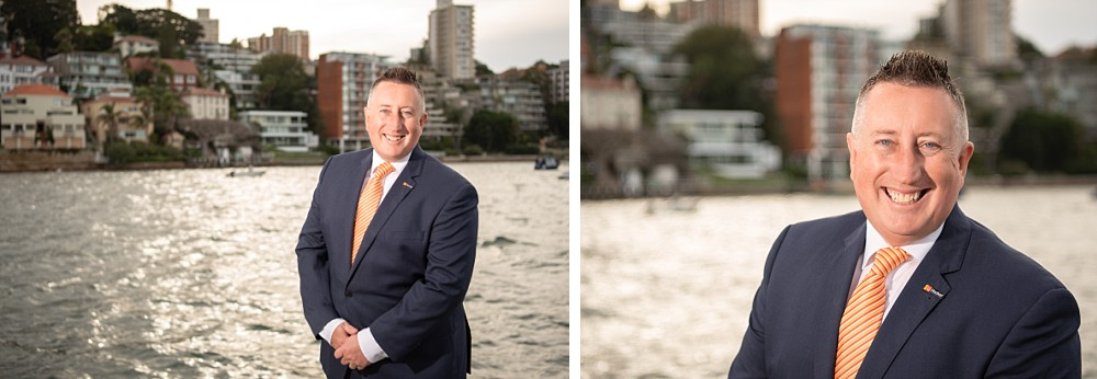 Professional Real Estate Headshots at Double Bay at sunset