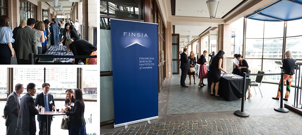 Guests outside FINSIA Signature Event Leading Change at Dockside Darling Harbour