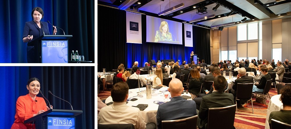 Speakers and guests at a financial industry conference in Sydney