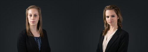 Two young female lawyers in Sydney studio headshot
