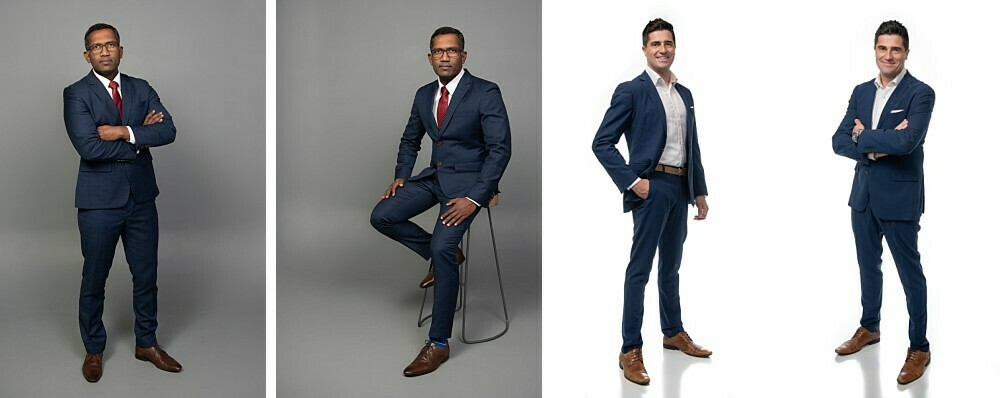 Standing and seated full body business portraits in studio