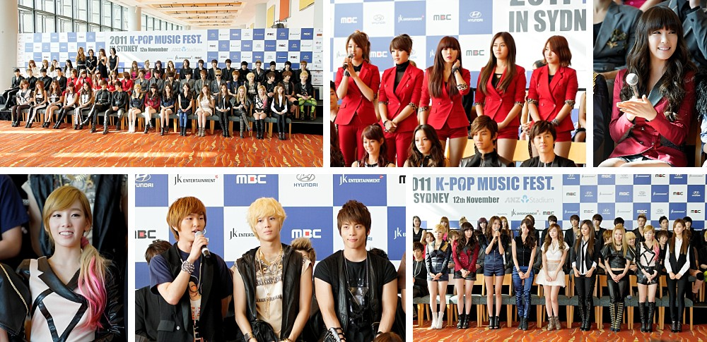 2AM, 4minute, BEAST, CN Blue, Kara, MBLAQ, miss A, Secret, SHINee, SISTAR, SNSD, TVXQ at the K-pop Music Fest media conference in Sydney 2011