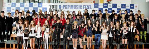 2AM, 4minute, BEAST, CN Blue, Kara, MBLAQ, miss A, Secret, SHINee, SISTAR, SNSD, TVXQ at the K-pop Music Fest media conference in Sydney 2011