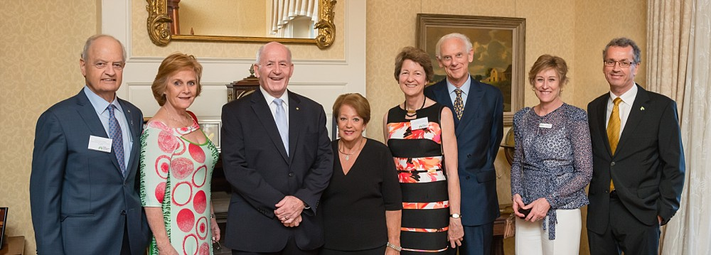 LFA Board Tony Hyams & partner, Sir Peter Cosgrove & Lady Cosgrove, LFA Chair Christine Jenkins & partner, LFA CEO Heather Allan & partner at Admiralty House