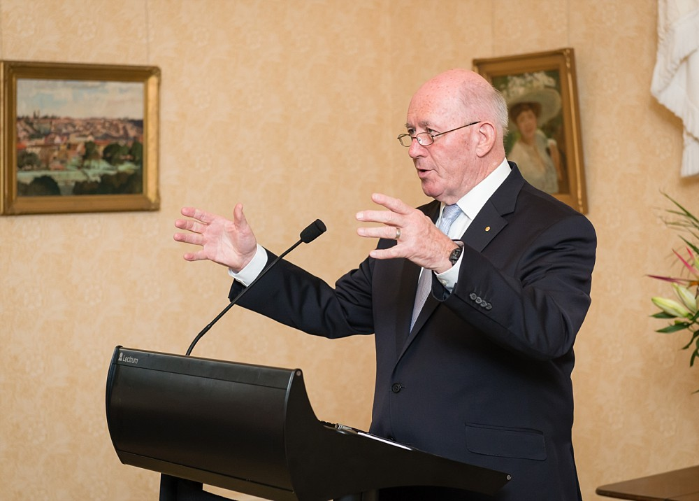 Peter Cosgrove Governor-General of Australia at Admiralty House presenting to the Lung Foundation