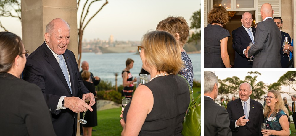 Governor-General Sir Peter Cosgrove with guests at the back gardens of Admiralty House at Lung Foundation Australia Reception