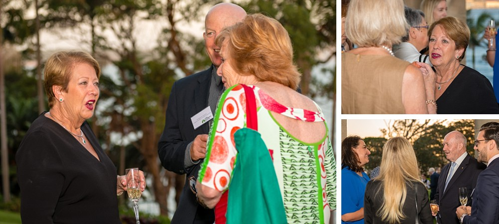 Governor-General Sir Peter Cosgrove & Lady Cosgrove with guests at the back gardens of Admiralty House at Lung Foundation Australia Reception