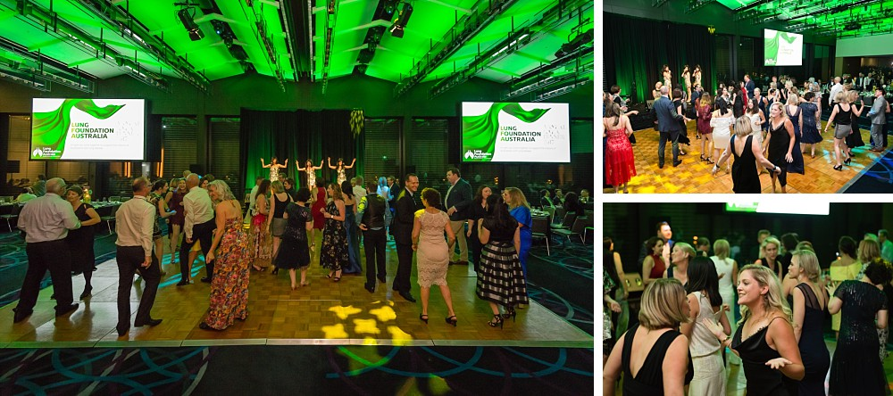 Guests dance to The BeatGirls at the Lung Foundation Australia Annual Dinner Gala 2017