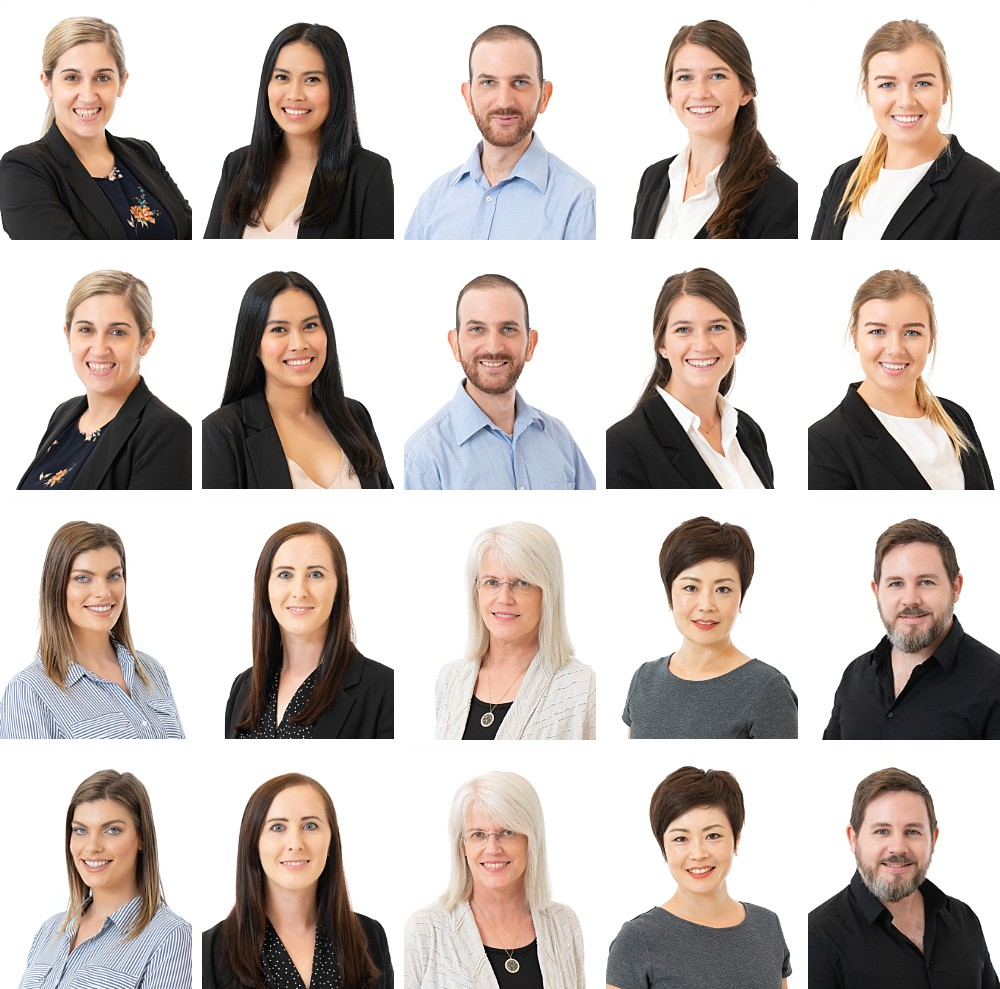 Professional staff headshots against white background