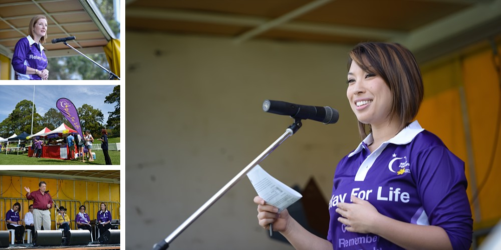 Kathy Novak and other speakers at North Shore Cancer Council Relay For Life 2014