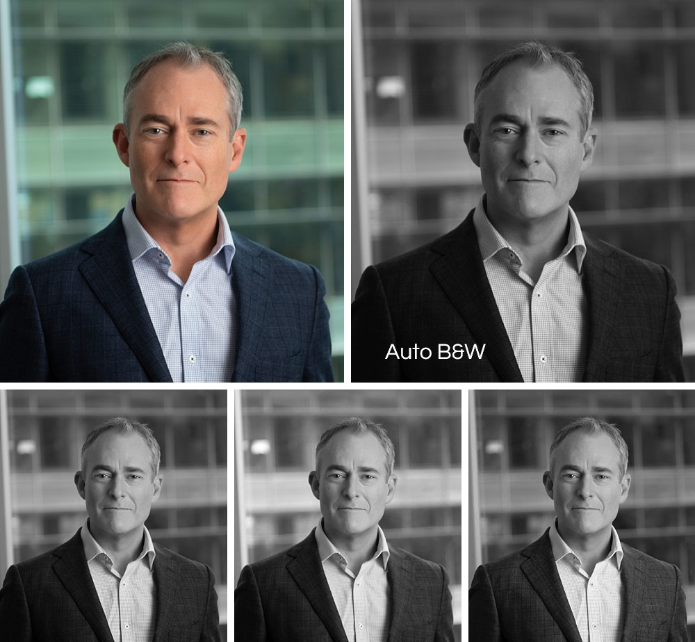Comparison of color and B&W headshots in office