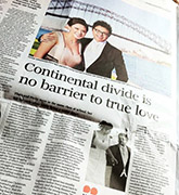 Newspaper article in scmp titled 'Continental divide is no barrier to true love' 20110806