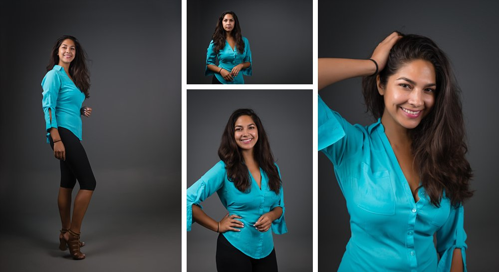 Female actor headshots in aqua shirt and black leggings in Sydney studio