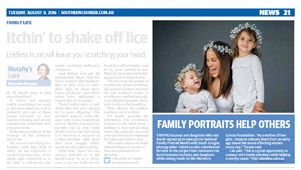 Newspaper article titled 'Family portraits help others' from Southern Courier 20160809