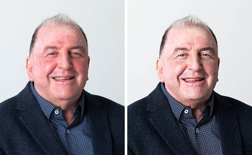 Comparison of red skin editing in corporate headshots