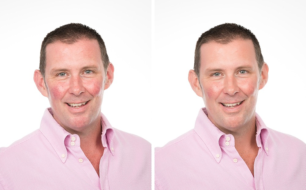 Retouched headshot comparision with Caucasian male