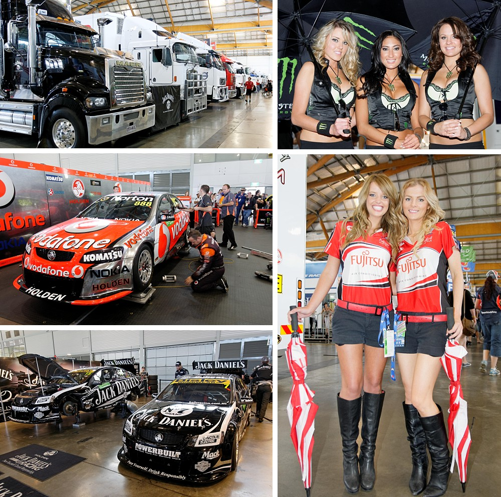 Drivers and showgirls at Sydney Telstra 500 V8 Supercars 2011 at Sydney Olympic Park