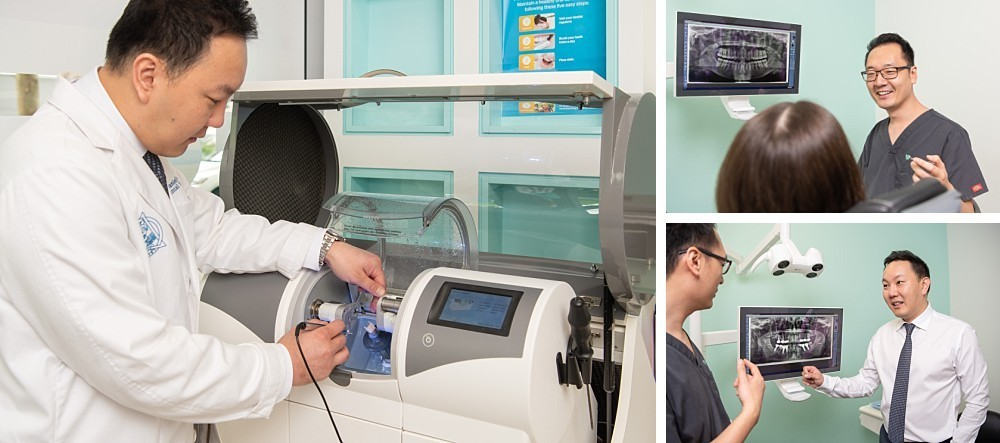 Dentists interacting with machinery and xrays